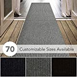 iCustomRug Spartan Weather Warrior Duty Indoor/Outdoor Utility Ribbed in 3ft,4ft,6ft Widths 70 Custom Sizes with Natural Non-Slip Rubber Backing 3' x 8' in Grey