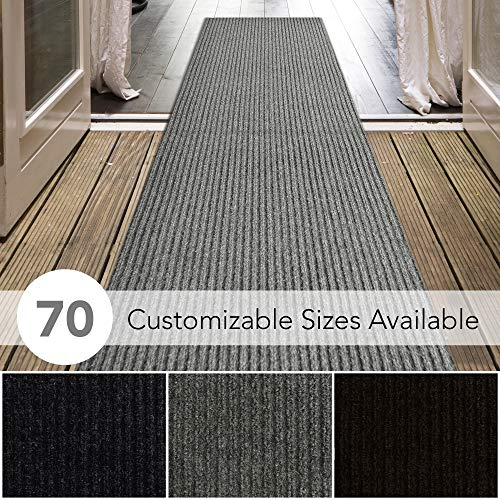 iCustomRug Spartan Weather Warrior Duty Indoor/Outdoor Utility Ribbed in 3ft,4ft,6ft Widths 70 Custom Sizes with Natural Non-Slip Rubber Backing 4' x 28' in Grey