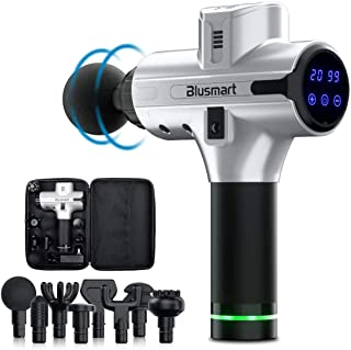 Massage Gun Blusmart Handheld Percussion Muscle Massager for Athleter with 8 Massage Heads and 20-Speed Vibration, Deep Tissue Massager Rechargeable Body Massager for Pain Relief & Recovery