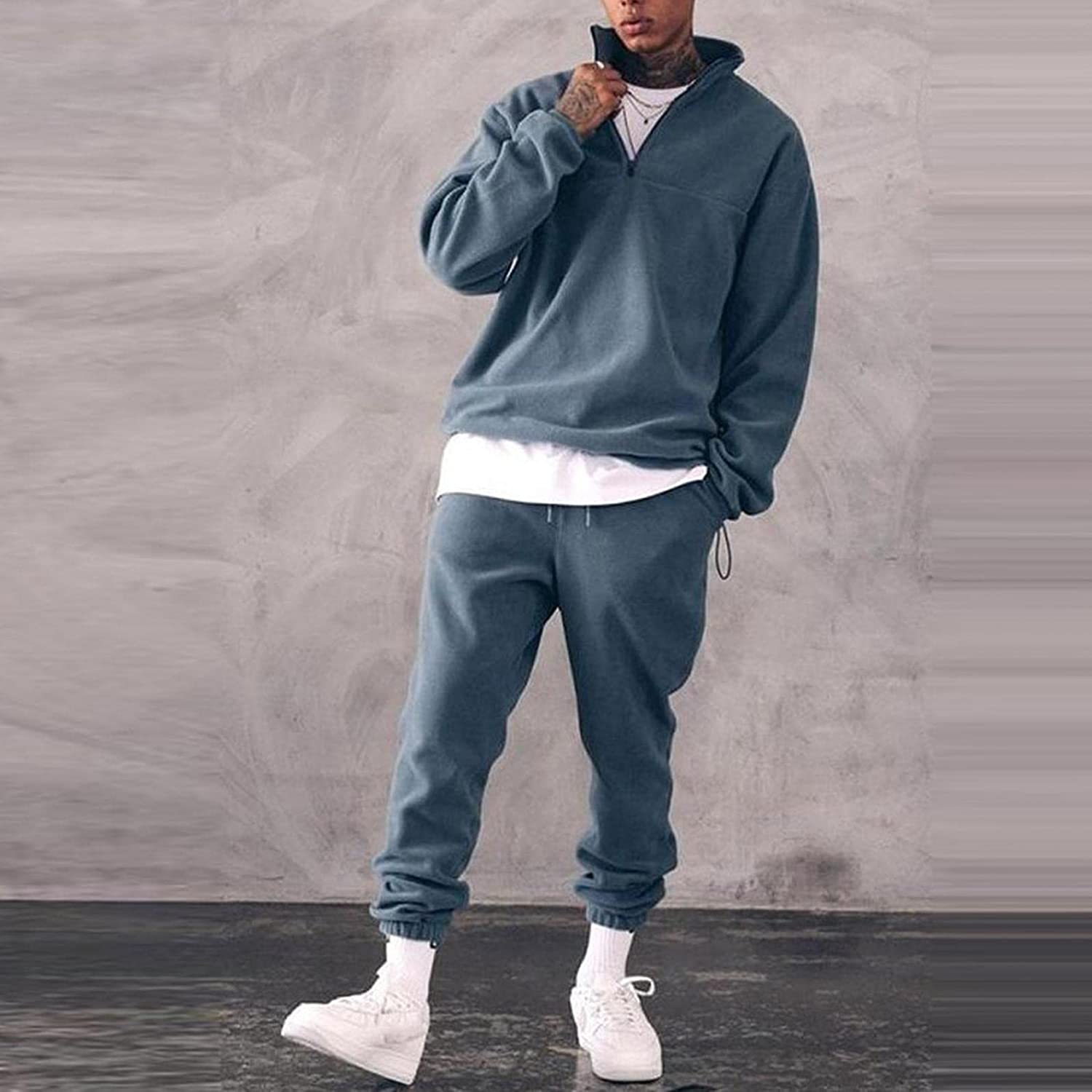 WoCoo Men's 2 Piece Tracksuits Stand Collar Zipper Pullover Sweater & Long Pants Outfit Soft Comfy Fuzzy Fleece Home Suit