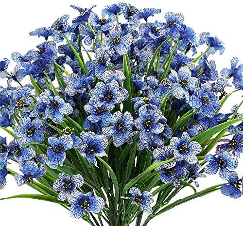 6 paquetes de flores artificiales para exteriores resistentes a los rayos UV, no se decolora, plantas de plástico sintético, decoración de la ventana (azul)