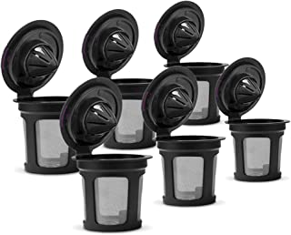 Reusable Eco-friendly K Cups, Compatible with Most Keurig 2.0 & 1.0 SeriesCoffee Machines, Food Grade Materials, Easy to Use Refillable K-cup Coffee Filter (Black, 6 Pack)
