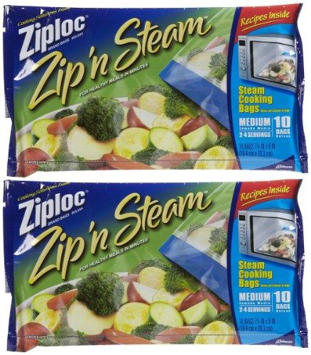 Ziploc Zip'N Steam Cooking Bags, 10 ct-2 pack