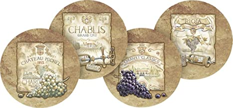 Thirstystone Stoneware Coaster Set, Wine Labels A/4