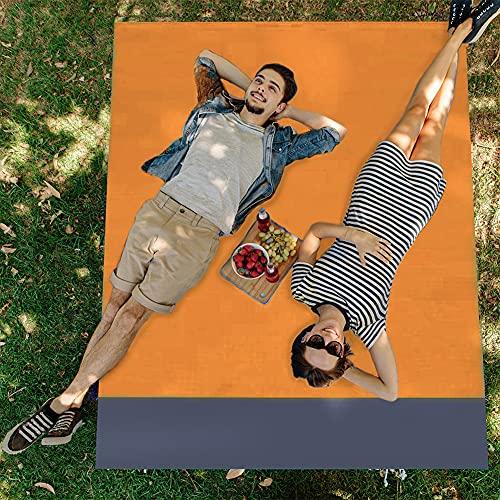 Manta de pícnic, para camping, playa, impermeable, manta de pícnic, manta de playa con 4 esquinas de fijación, ultraligera, manta de playa para playa, camping y picnic, 210 x 200 cm (amarillo)