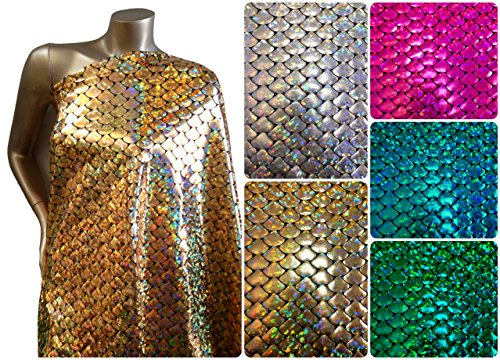 Shiny Holographic Foil Mermaid Scales Pattern on Black Stretch Nylon Spandex Shiny Tricot Fabric By the Yard (Gold)