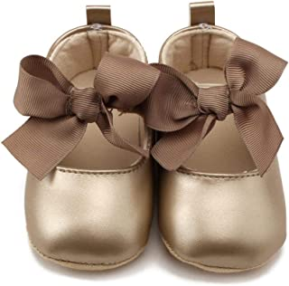 flower205 Chaussures De Sport Princesse, Chaussures Plates PU Bow Baby First Walkers Chaussures Semelle Souple Sneakers An...