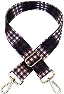 ArtOut 3,8 cm breiter Schachbrett-Gurt für Geldbörse, Ersatz-Gitarren-Stil aus Segeltuch, Crossbody-Tasche für Handtaschen, mit silberfarbenen Beschlägen