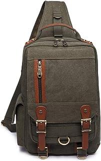 KAUKKO Canvas One Strap Sling Cross Body Laptop Messenger Bag Travel Outdoor Messenger Shoulder Bag Army Green