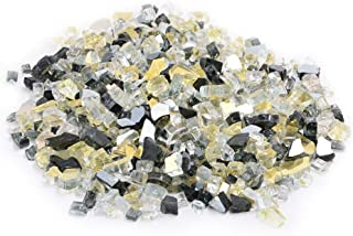 Skyflame 10-Pound Blended Fire Glass for Fire Pit Fireplace Landscaping, 1/4-Inch Onyx Black, Platinum, Gold, Reflective