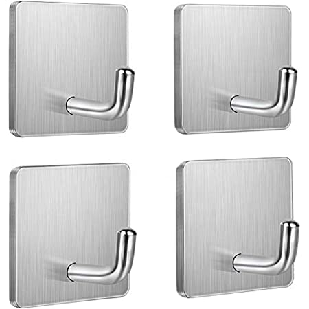 Stainless Steel Kitchen Bathroom Towel Hat Clothes Hanging Wall Row Rack Hooks