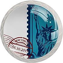 Ladeknoppen Ronde Kristal Glazen Kabinet Handgrepen Pull 4 Pcs,New York Vrijheidsbeeld