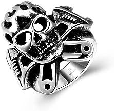 JAJAFOOK Men's Gothic Stainless Steel Rings Silver Black Spanner Mechanic Wrench Tool Skull Biker Rings Size 8-11