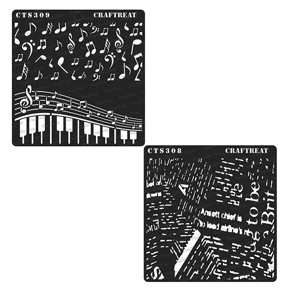 CrafTreat Stencil - Newsprint &? Musical (2 pcs) | Reusable Painting Template for Journal, Home Decor, Crafting, DIY Albums, Scrapbook and Printing on Paper, Floor, Wall, Tile, Fabric, Wood 6