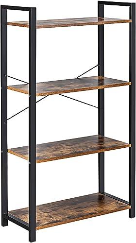 wholesale Giantex 4-Tier Industrial discount Bookshelf, Vintage Bookcase with Metal Frame, Standing Shelf Unit, Storage Shelves, Book Shelf for Living discount Room, Bedroom, Office, Brown online