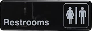 Winco SGN-313 Sign, 3-Inch by 9-Inch, Restrooms (2-Pack),Black and White