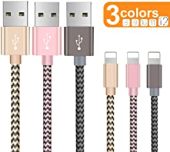 OTISA Charger Cable for Phone, Charger Cord 3 Pack Nylon Braided Charging Cord Compatible Phone xs/xsmax/xr/8/8plus/7/7plus/6/6plus pad pod & More(Gold/Pink/Grey)