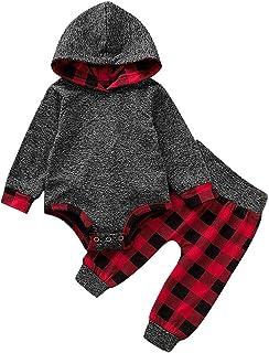 0-18 Meses,SO-buts Infantil Niños Bebes Otoño Invierno Plaid Pullover Con Capucha Mono Body Pantalones Chándal Casual Trajes