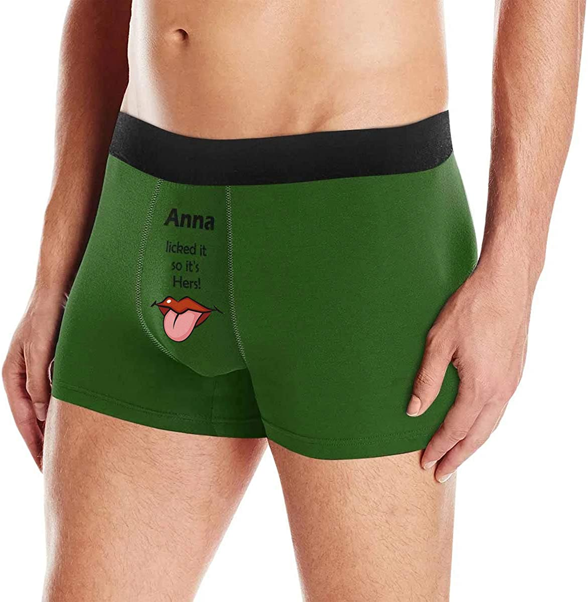 Custom Boxer Briefs for Men,Custom Her Name Briefs with Printing Mouth and Tongue,Lick with Tongue,She Liked It So Its Hers