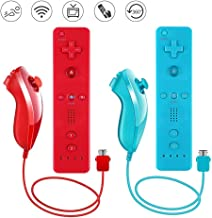 Lactivx 2 Packs Nunchuck and Wii Remote Controller with Silicone Case and Strap Compatible with Wii Wii U Console (Red and... photo