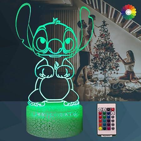 Lampe Lilo & Stitch,Veilleuse de dessin animé 3D Princesse Lampe de chevet de chambre USB Télécommande Multicolore Lampe de bureau Illusion Décor de chambre de bébé doux fille(Crack Cute Stitch)
