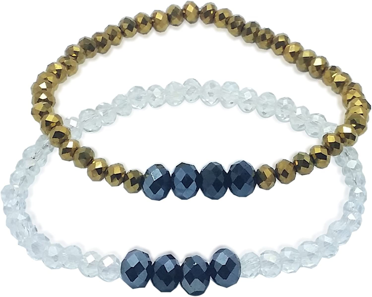 Stretch Bracelet, ICY White and gold with Black Small Simple Shiny Crystals, 2Pack