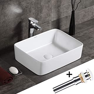 AWESON 19 Inch X 15 Inch Rectangular Ceramic Vessel Sink, With Pop-up Drain, Vanity Sink, Above Counter White Countertop Sink, Art Basin Wash Basin for Lavatory Vanity Cabinet (19