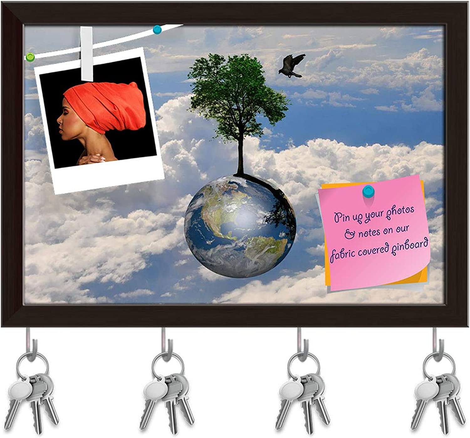 Artzfolio Earth Globe & Lonely Tree with Little Bird Key Holder Hooks   Notice Pin Board   Dark Brown Frame 8.5 X 6Inch