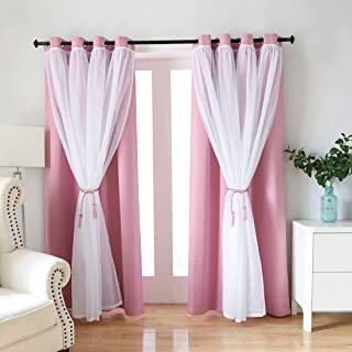 Didihou Voile Mix Match Blackout Curtain Elegant Panel Double Layer Darkening Thermal Insulated Window Treatment Grommet Drapes for Living Room Girls Bedroom, 1 Panel (52W x 84L Inch, Pink)