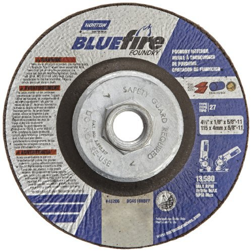 Norton Blue Fire Plus Foundry Depressed Center Abrasive Wheel, Type 27, Zirconia Alumina and Silicon Carbide, 5/8-11 Hub, 4-1/2 Diameter x 1/8 Thickness (Pack of 10) by Norton Abrasives - St. Gobain