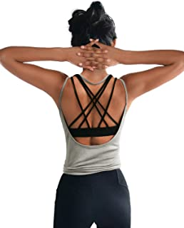 OYANUS Womens Summer Workout Tops Sexy Backless Yoga Shirts Loose Open Back Running Sports Tank Tops Cute Muscle Tank Sleeveless Gym Fitness Quick Dry Activewear Clothes for Juniors Gray XS