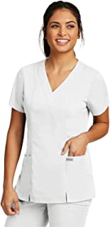 Grey's Anatomy 2-Pocket Mock Wrap Top for Women - Classic Fit Medical Scrub Top