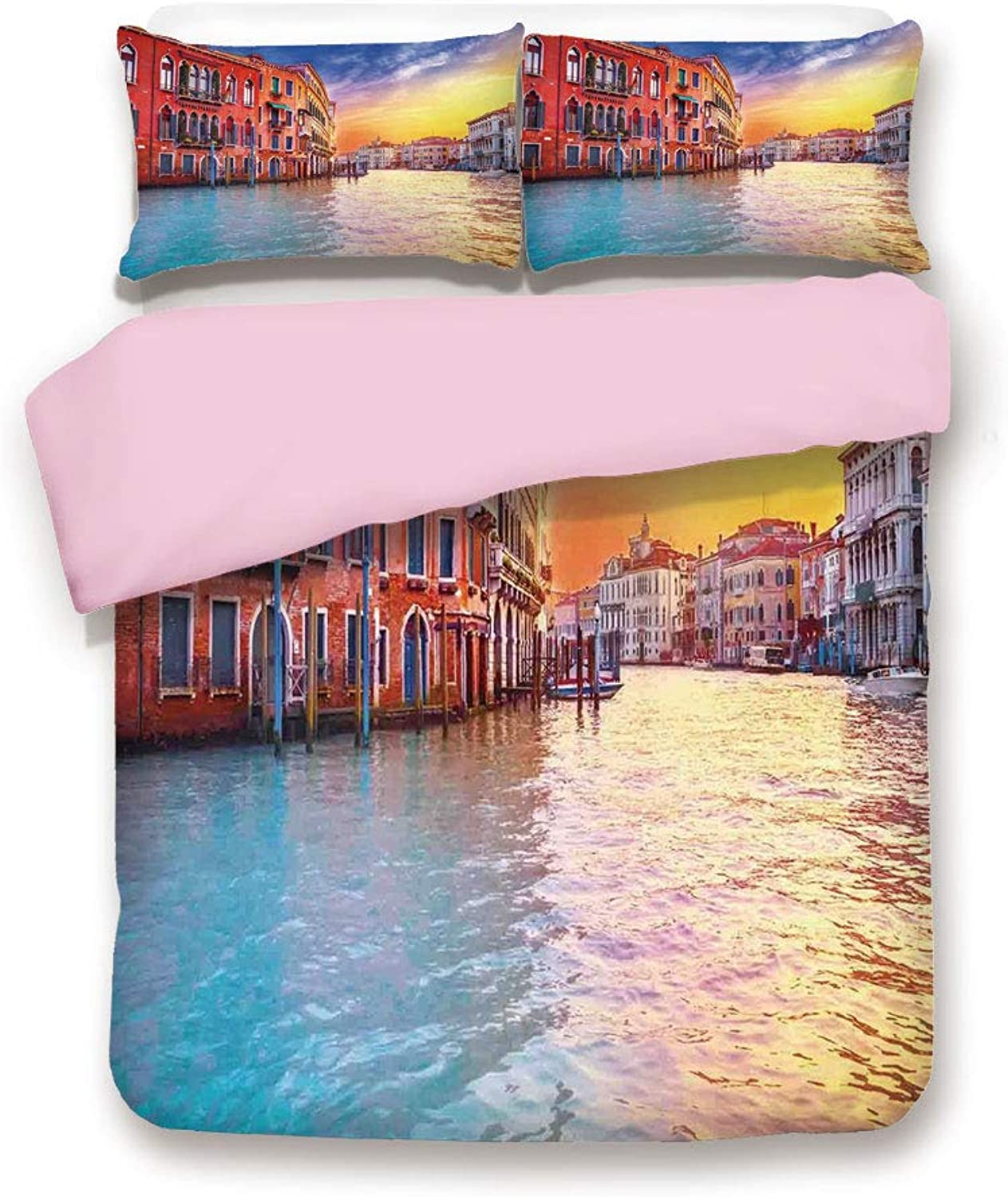 Pink Duvet Cover Set,Twin Size,European Magical Venice Canal with Historical Buildings Famous Town Scenery,Decorative 3 Piece Bedding Set with 2 Pillow Sham,Best Gift for Girls Women,bluee orange