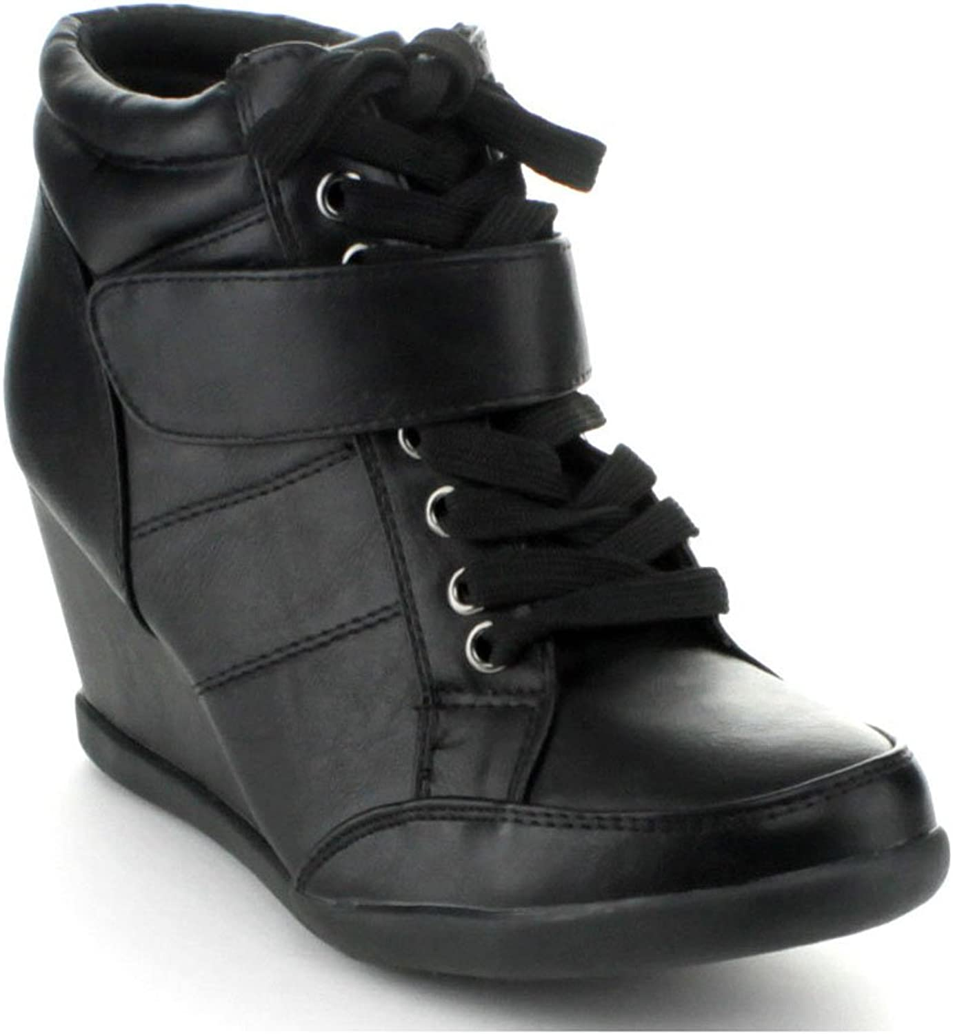 Forever Womens Peggy-61 Hot Lace Up Wedge Sneakers Casual shoes,Black,5.5