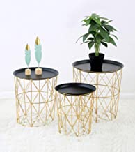 Multi-Functional Metal Convertible Round Basket with Tray Top, Decorative Storage Bin Basket Bottom Table,Set of 3, Deluxe...
