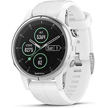 Garmin fēnix 5S Plus, Smaller-Sized Multisport GPS Smartwatch, features Color Topo Maps, Heart Rate Monitoring, Music and Pay, White/Silver (010-01987-00)