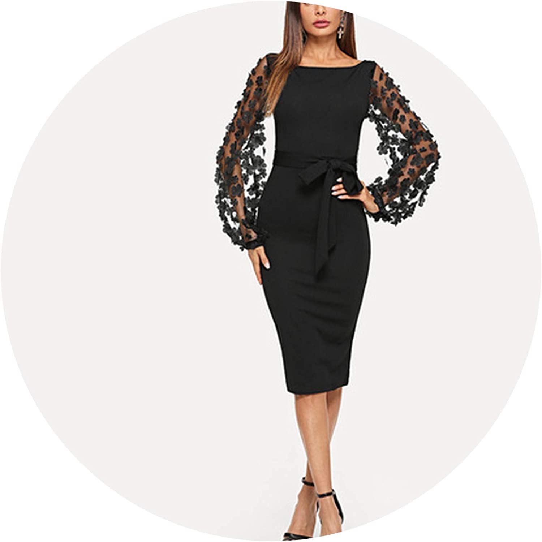 PursuitofselfCA Party Elegant Flower Applique Contrast Mesh Sleeve Form Fitting Belted Solid Dress