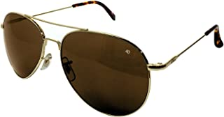 American Optical - General Aviator Sunglasses with Wire Spatula Temple and Gold Frame, Cosmetan Brown Glass Lens