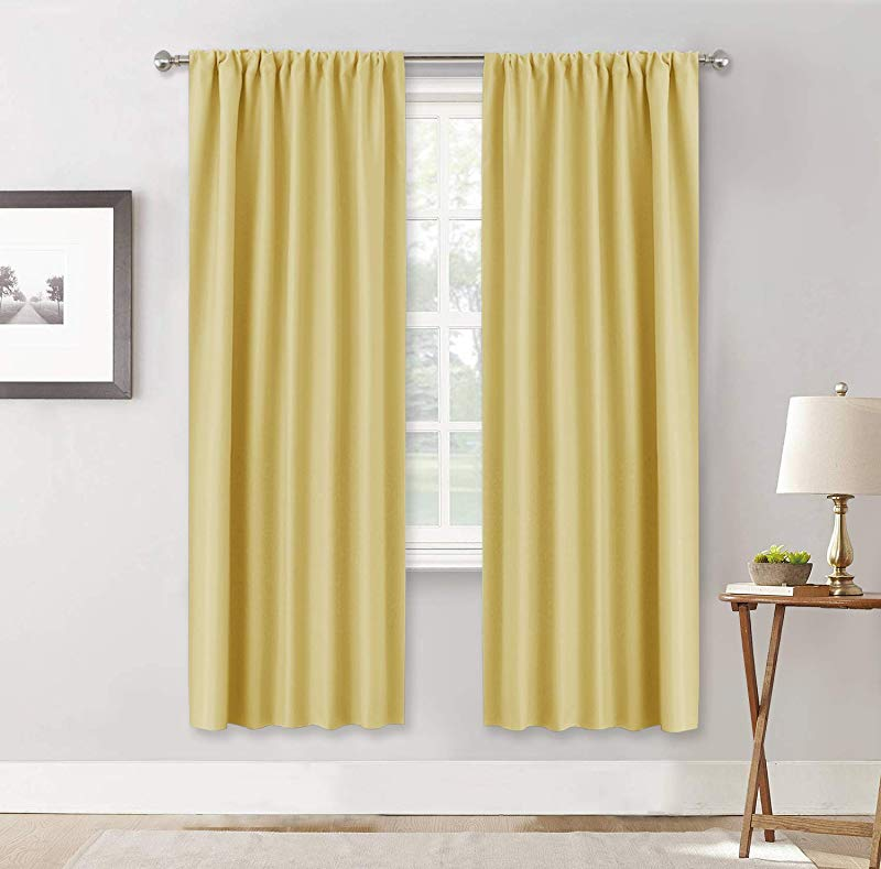 RYB HOME Contemporary Curtains For Dining Area Thermal Insulated Room Darkening Draperies For Energy Saving Prevent Furniture From Sunlight 42 X 72 Per Panel Mustard Yellow 1 Pair