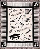 Simply Home Music Notes Piano & Instruments Afghan Throw Blanket 50' x 60'