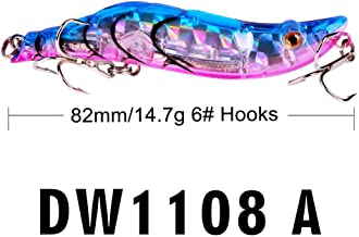 LIEIKIC Finshing Baits 1PC Fishing Lures 8.2cm Plastic Hard Bass Baits 6 Colors Minnow Lures Lures bait fake bait blister packaging