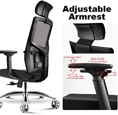 HomeGoGo Office Desk Chairs, Ergonomic Mesh Home Computer Chair, Adjustable Executive Chair with Headrest, Armrest and Rollin