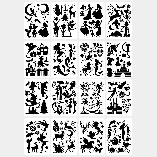 16 Stück Journal Schablonen Set, Zeichenschablonen Malschablonen aus Kunststoff, Stencil Schablonen Wiederverwendbar für Scrapbooking Fotoalbum (20x30cm)