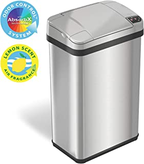 iTouchless 4 Gallon Sensor Trash Can with Odor Filter and Fragrance, Touchless Automatic Stainless Steel Waste Bin, Perfec...