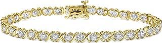 Diamond Wish 14k Gold Round XOXO Diamond Tennis Bracelet (1 cttw, O.White, I2-I3)