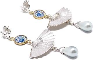 Orecchini in oro 24 carati resina argento perla madreperla ventaglio fiore blu oro bianco regali personalizzati regalo di ...