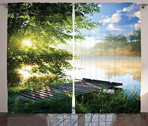 """Ambesonne Landscape Curtains, Fishing Pier by River in The Morning with Clouds and Trees Nature Image, Living Room Bedroom Window Drapes 2 Panel Set, 108"""" X 84"""", Green Salmon"""