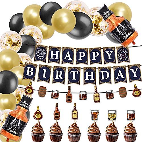 JeVenis 36 pièces décorations d'anniversaire de whisky bannière d'anniversaire de whisky tasse de bière décoration