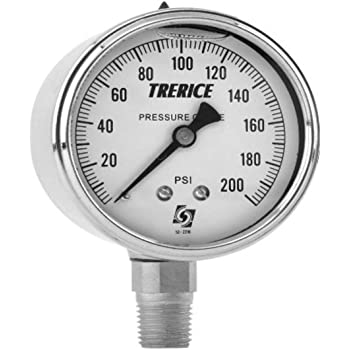 1//4 NPT Stainless Steel Connection 4.5 dial Trerice 450SS4502LA090 Process Gauge 0 to 30 psi Lower Mount 4.5 dial 1//4 NPT Stainless Steel Connection