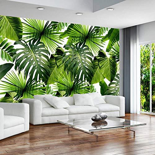 Fotomural Vinilo Para Pared Hojas De Palmera Tropical Verde Pegatina Mural 3D Paneles Decorativos Wallpaper Extraíble Impermeable Decor De Hogar Cocina Salón Moderna 350X250Cm